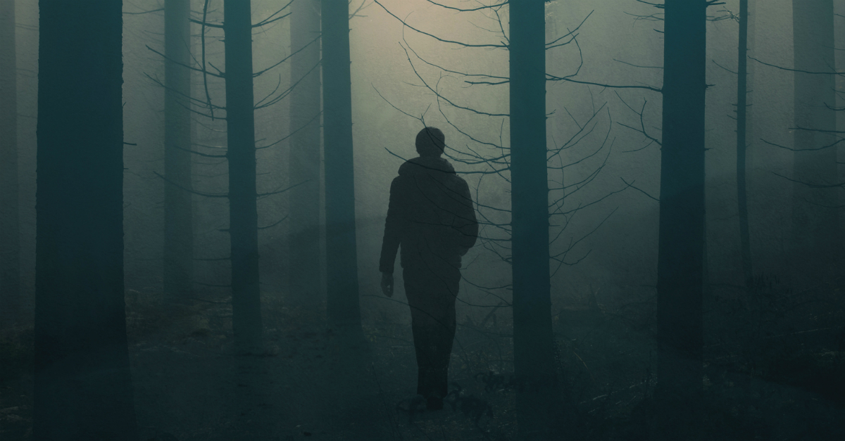 man walking in dark forest, the wicked commit evil