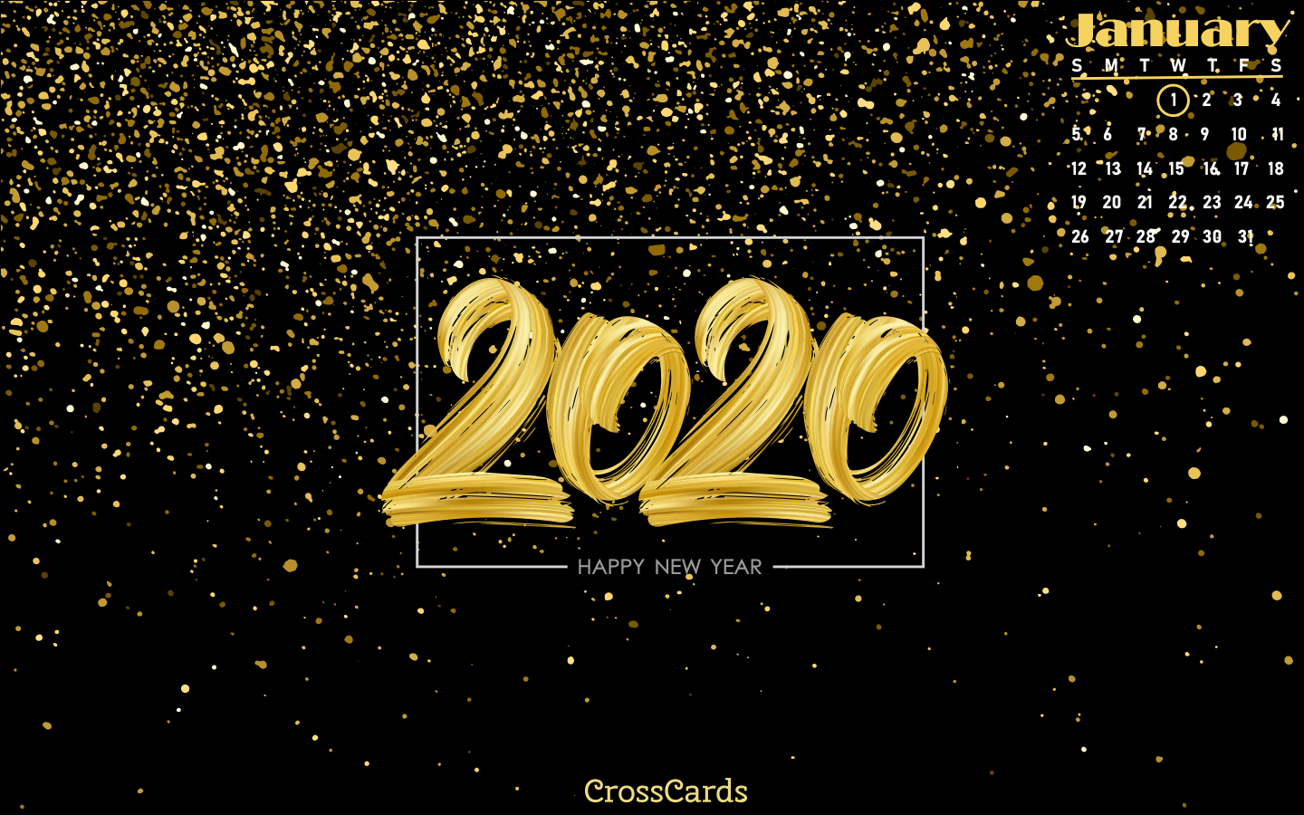 January 2020 - New Year mobile phone wallpaper