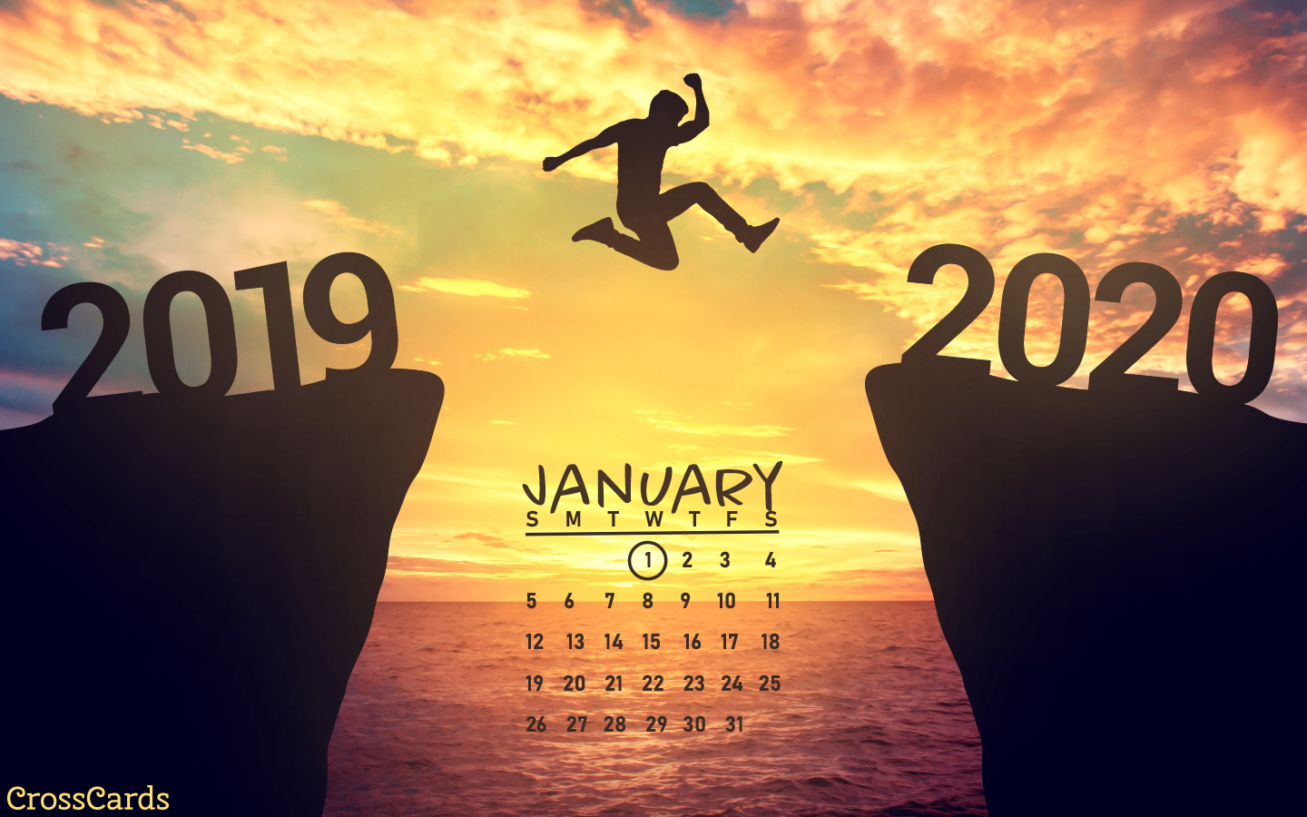 January 2020 - Jump into the New Year mobile phone wallpaper