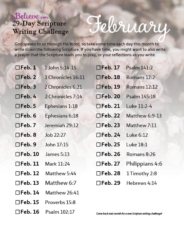February 29 Day Scripture Writing Challenge