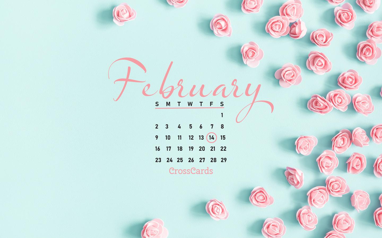 February 2020 - Valentines Flowers mobile phone wallpaper