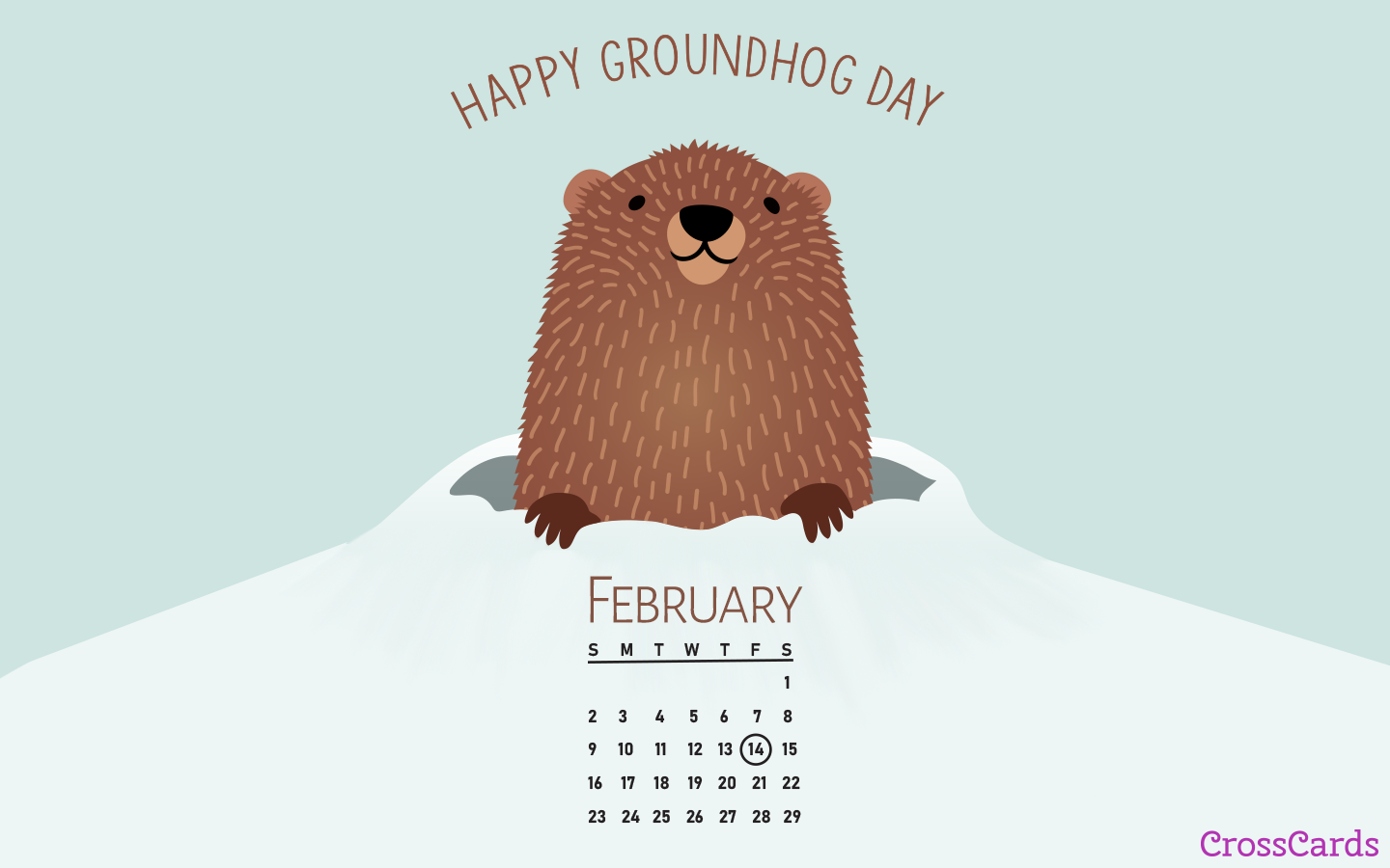 February 2020 - Groundhog Day mobile phone wallpaper