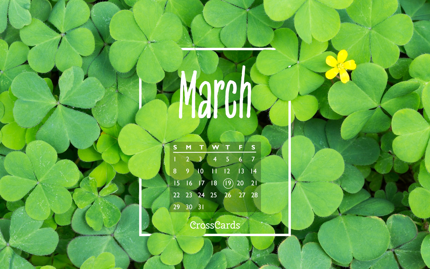 March 2020 Clover Desktop Calendar Free March Wallpaper