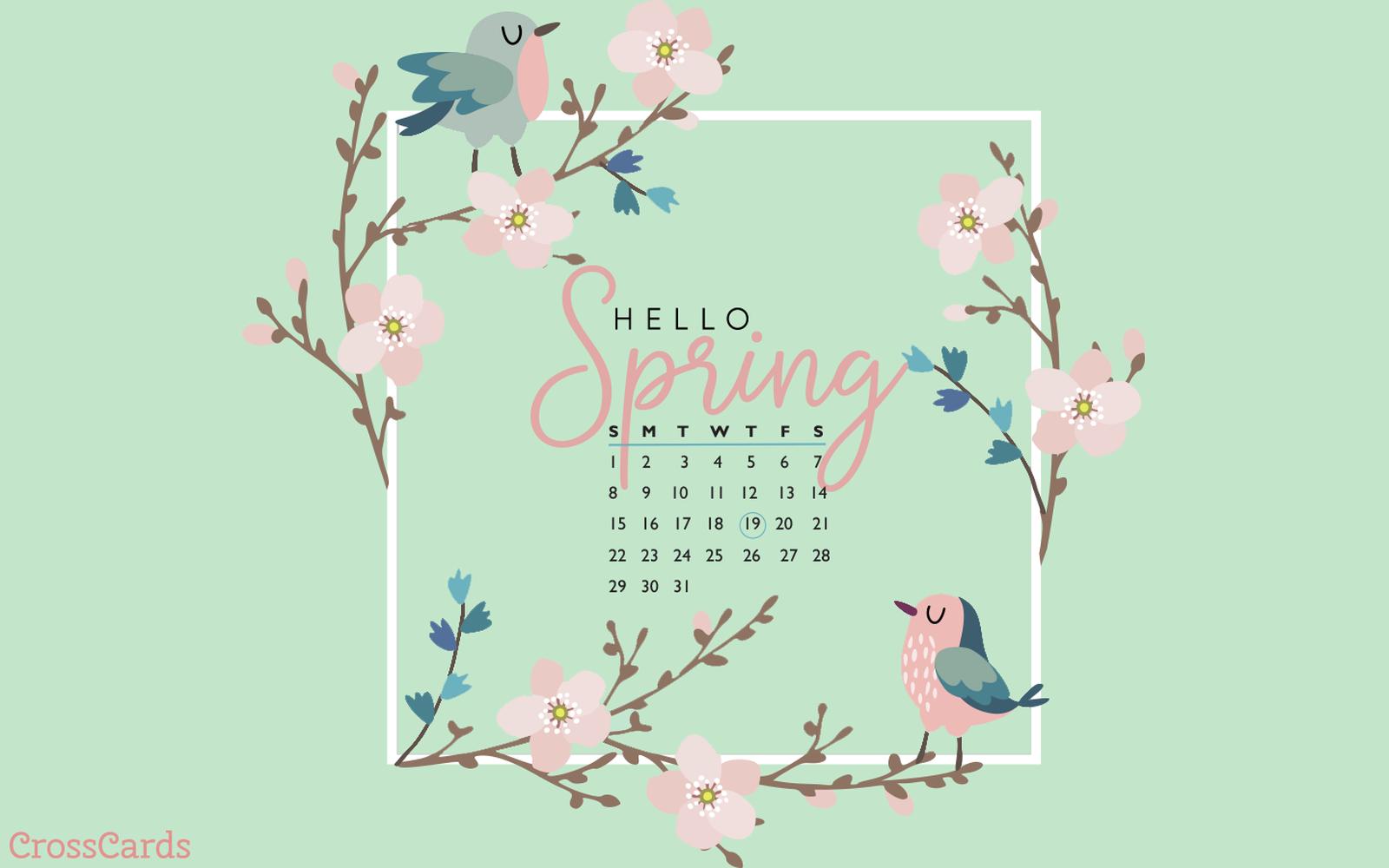 March 2020 Hello Spring Desktop Calendar Free March Wallpaper