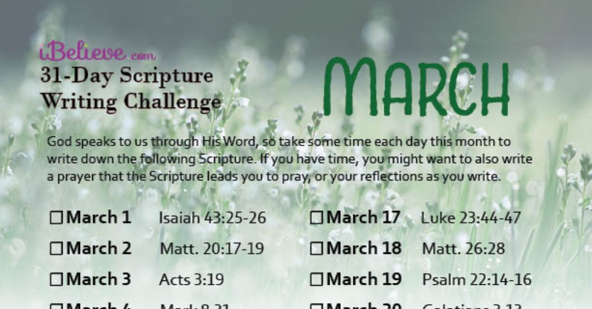March Scripture Writing Guide (2020)