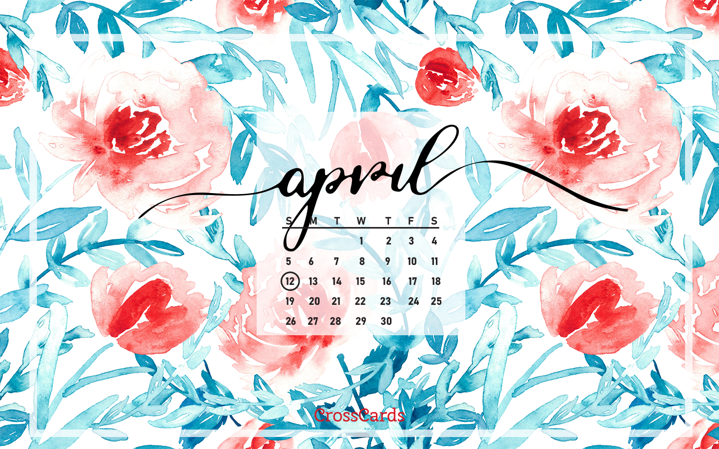 April 2020 - Watercolor mobile phone wallpaper