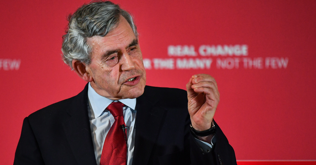 Former U.K. Prime Minister Gordon Brown Calls for Temporary Global Government to Combat the Coronavirus
