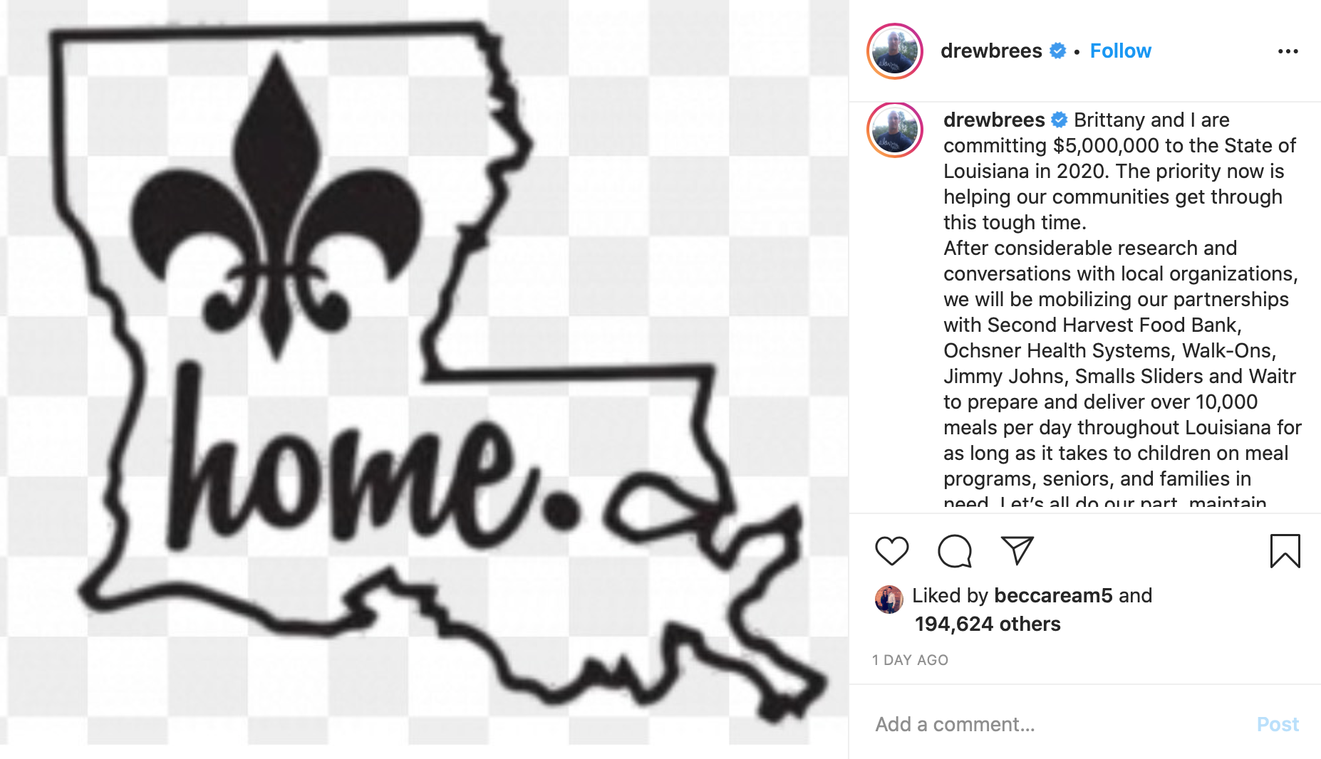 Drew Brees Donates $5 Million to Fight Coronavirus as Louisiana Becomes Inundated with Patients