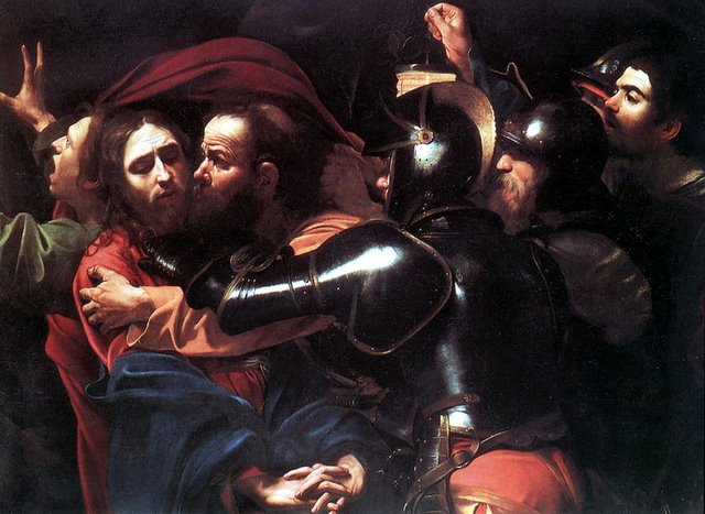 Caravaggio's taking of christ in the garden.